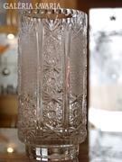 Gyönyörű, kézicsiszolású, ólomkristály váza, 23 cm