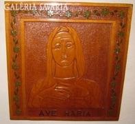 Ave Maria faragott-festett falikép- szentkép