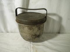 S401 Antik fedeles pléh pudingfőző edény