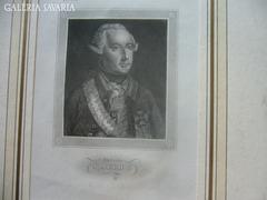II. József császár, ritka acél metszett 1833