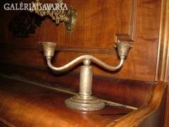 Antik fém kétágú gyertyatartó