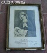 Antik szentáldozási emlék 1936- ból keretezve.