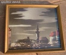 Antik selyemkép eredeti üvegezett keretében: Tájkép