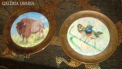 Rézkeretes Keramik – jelzett és szignózott fali tányé