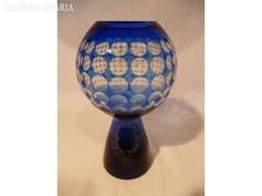 Y283 i1 Antik kék üveg vastagfalú díszváza