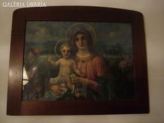 Hatalmas csodás biedermeier szentkép - antik nyomat