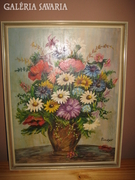 Fischer Edwin -Virágcsendélet Olajfestmény.52 x 52 cm