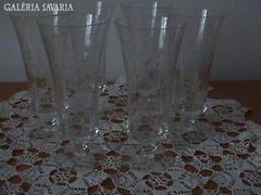 Gyönyörű kézi csiszolású pezsgős pohár 6 db