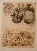 Láng Rudolf 31x24cm rézkarc művészpéldány