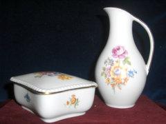 Kis kancsó és bonbonier-német porcelán