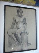 Patkó Károly: Akt, szén rajz , keretezve 49 x 39 cm.