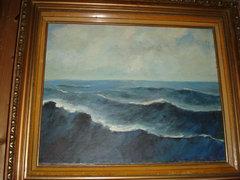 Kárpáthy Jenő (1870-1950) festménye Hullámok a tengeren