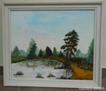 Jelzett nagy impresszionista olaj / vászon festmény