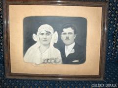 Antik esküvői fotó-eredeti keretében - 64,2x50,5 cm