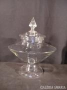 B136 E4 Nagyméretű fedeles üveg asztalközép kínáló