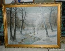 Hatalmas jelzett olaj / vászon festmény > Téli táj