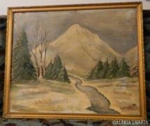 Lovasi M> olaj / vászon festmény > Téli táj
