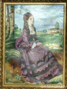 Lila ruhás nő  Olaj-vászon  84x64cm