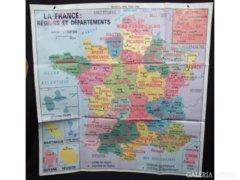 5197 Nagyméretű Francia két oldalas térkép 1,1 m2