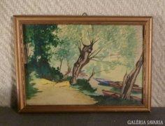 3595 Kurlander István folyóparti fák akvarell
