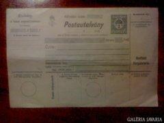 Postautalvány 1916 év 2 filléres használatlan