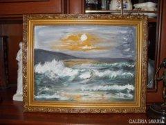 Hullámzó tenger című festmény Kóka Éva kortárs festő