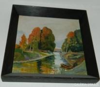 A. Hoffmann: Jelzett kvalitásos festmény Magányos csónak
