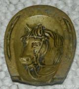 Antik súlyos réz hamutál lófej - patkó mintával