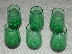Antik biedermeier nagyobb likőrös zöld üveg pohár kész