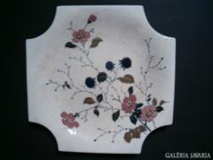Láng Mihály 1890 körüli porcelánfajansz dísztányér