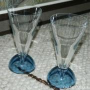 Szecessziós antik kék talpú pohár pár