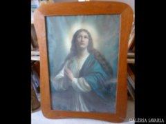 Y701 R1 Antik szentkép olajnyomat Szűz Mária