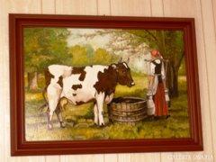 Parasztlány tehénnel