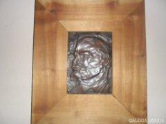 Lenin arcképe rézplaketten, keretezve ! Retró !