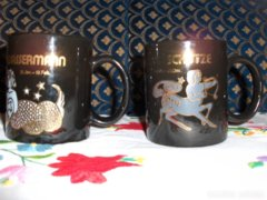 Horoszkópos, aranyozott teás csésze - 2 db