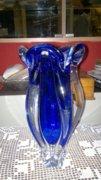Nagy cseh üvegváza kék