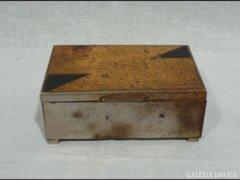 2936 J2 Régi fabetétes fém doboz kártyadoboz
