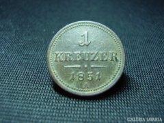 """1 krajcár ( kreuzer ) 1851 """" A"""" Bécsi veret"""