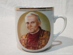0730 Antik porcelán bögre II. János Pál Pápa