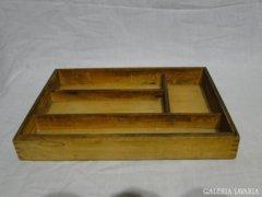 0553 Antik fából készült konyhai evőeszköz tároló