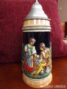 Régi német kerámia ón fedeles söröskorsó
