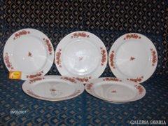 Arany szegélyes, virágos jelzett lapos tányér - 5 darab