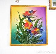 Kétoldalú, kézi festésű selyem