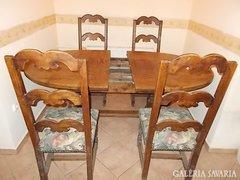100 éves, tömör tölgy étkezőasztal, 4db.szék