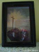 Antik kép: Kálvária domb kasírozott olaj vászon