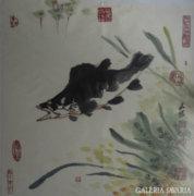 Kínai akvarell, vizivilág hal csuka vagy sügér