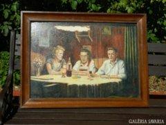 Asztalnál ... - olaj festmény