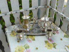 Sárgaréz ezüstözött teás készlet 5 részes Alkudható!