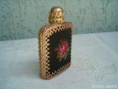 Antik aranyozott,gobelin parfümös üveg