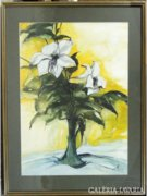 8283 Jelzett szépen keretezett akvarell 61 x 83 cm